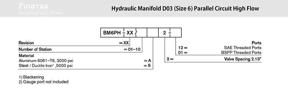 D03 Hydraulic Manifold, BM6PN Ordering Code