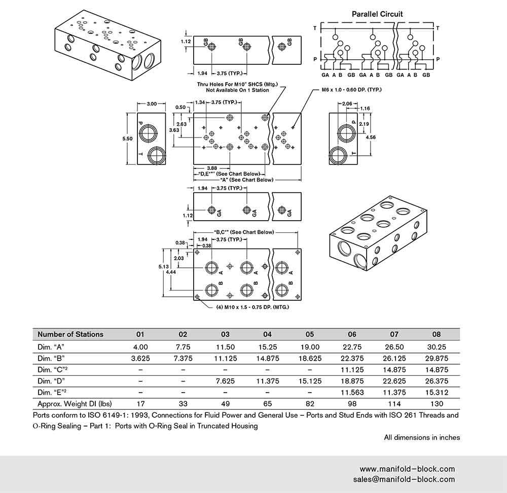 D05 Hydraulic Manifold ABM10PH Dimensions