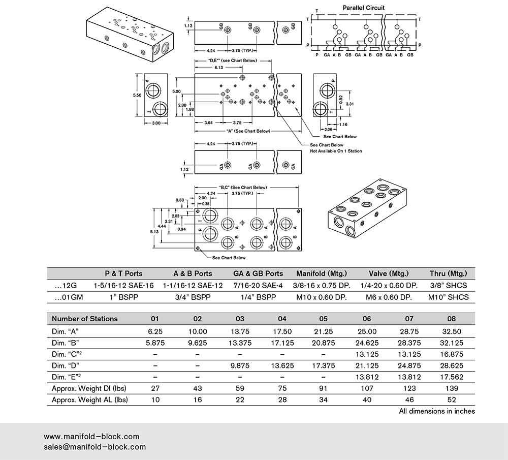 D05 Hydraulic Manifold ABM10PNB Dimensions