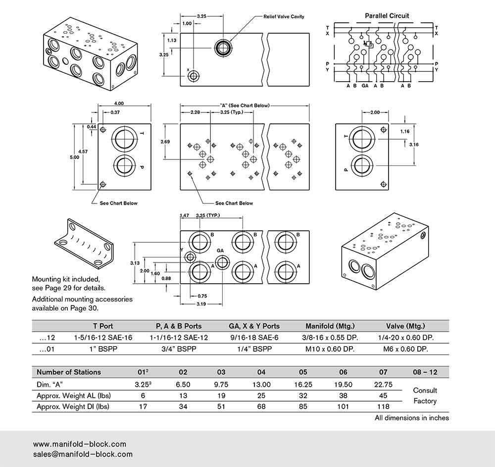 D05 Hydraulic Manifold BM10PH Dimensions