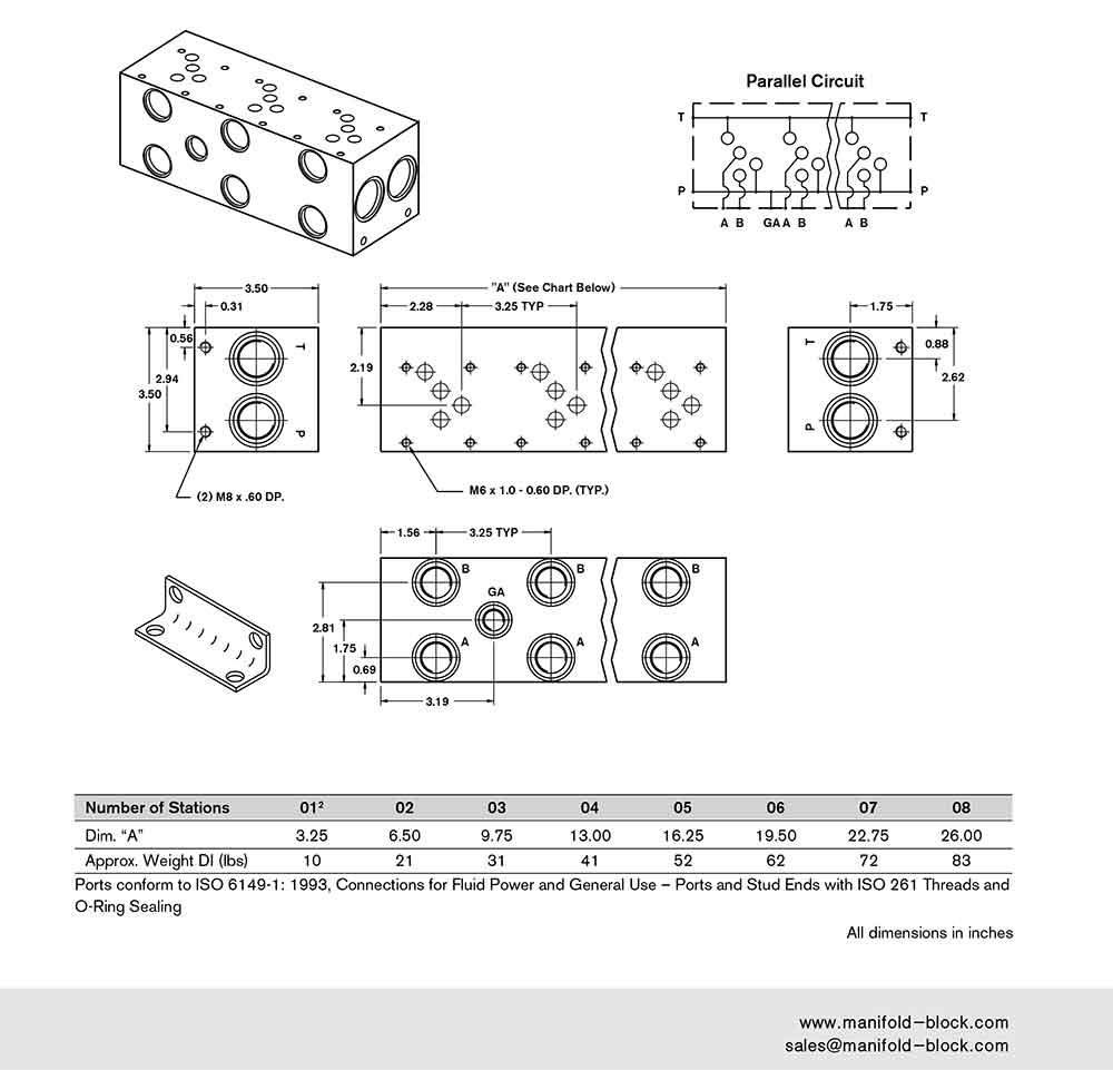 D05 Hydraulic Manifold IBM10PN Dimensions